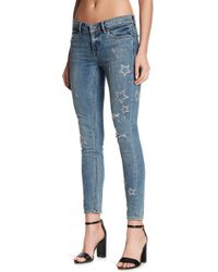 Lucky Brand - Stella Star Embroidered Low Rise Skinny Jeans - Lyst