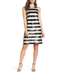 Eliza J - Reversible Stripe Sequin Shift Dress - Lyst
