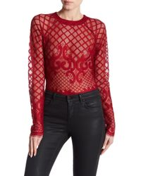 Romeo and Juliet Couture - Patterned Mesh Bodysuit - Lyst