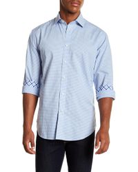 Thomas Dean - Diamond Gingham Long Sleeve Sport Fit Shirt - Lyst