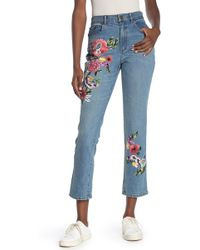 Alice + Olivia - Floral Embroidered High Waist Slim Jeans - Lyst