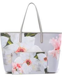 32bd5e8f0ddc Lyst - Ted Baker Cecie Chatsworth Bloom Canvas Tote in Gray