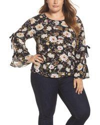 Glamorous - Floral Print Split Sleeve Blouse (plus Size) - Lyst