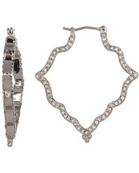 Jenny Packham - Pave Crystal Scalloped 25mm Hoop Earrings - Lyst