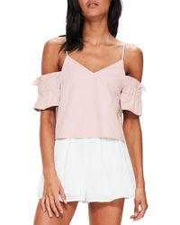 Missguided - Brushed Off The Shoulder Top - Lyst
