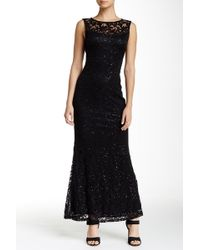 9f675cb8822e1d Lyst - Marina Sleeveless Illusion Yoke Lace Gown in Black