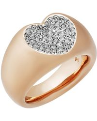 Swarovski - Rose Gold Plated Vio Pave Crystal Heart Shape Ring - Size 9 - Lyst