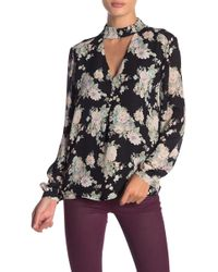 Philosophy Apparel - Printed Cutout Mock Neck Blouse - Lyst