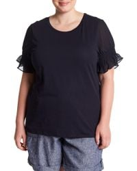 Joe Fresh - Smocked Sleeve Tee (plus Size) - Lyst