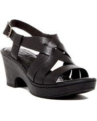 Born - Carmo Leather Criss Cross Sling Back Block Heel Sandals - Lyst