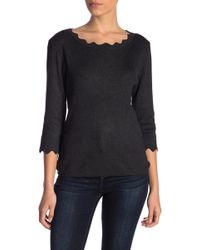 Philosophy Apparel - Scallop Trimmed 3/4 Sleeve Sweater (petite) - Lyst