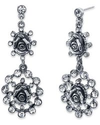 1928 - Crystal Flower Double Drop Earrings - Lyst