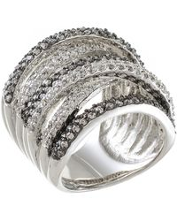 CZ by Kenneth Jay Lane - Two-tone Multi-band Cz Pave Ring - Lyst