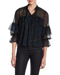 Lucky Brand - Printed Ruffle Top - Lyst