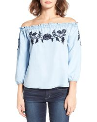 Tinsel - Embroidered Off The Shoulder Top - Lyst