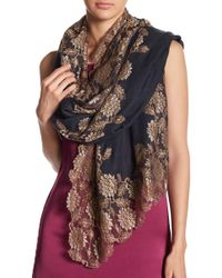 Bindya - Pumice Floral Lace Silk & Wool Blend Scarf - Lyst