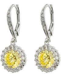 CZ by Kenneth Jay Lane - Round Yellow Cz & Clear Cz Halo Leverback Earrings - Lyst