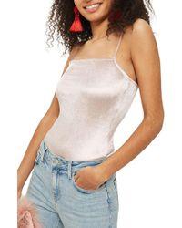 TOPSHOP - Square Neck Velvet Bodysuit - Lyst