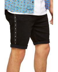 TOPMAN - Studded Stretch Skinny Fit Denim Shorts - Lyst