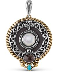 Relios - Sterling Silver Mixed Metal Semi-precious Stone Accented Round Pendant - Lyst