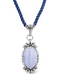 Relios - Sterling Silver Blue Lace Agate Pendant Blue Cord Necklace - Lyst