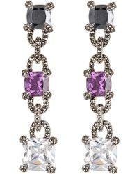 Judith Jack - Sterling Silver Swarovski Marcasite, Crystal, & Amethyst Spinel Linear Drop Earrings - Lyst