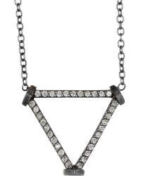 Paige Novick - 14k White Gold Plated Black Rhodium Open Triangle Diamond Pave Pendant Necklace - 0.2 Ctw - Lyst