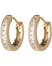 Judith Jack - 10k Gold Plated Sterling Silver Small Cz Hoop Earrings - Lyst