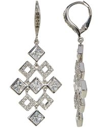 Judith Jack - Sterling Silver Crystal & Marcasite Detail Square Chandelier Drop Earrings - Lyst
