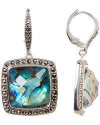 Judith Jack - Faceted Princess Crystal & Halo Set Marcasite Detail Drop Earrings - Lyst