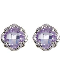 Judith Jack - Princess Purple Crystal & Marcasite Detail Stud Earrings - Lyst