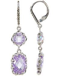 Judith Jack - Sterling Silver Marcasite & Cz Detail Drop Earrings - Lyst