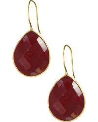 Saachi - 18k Gold Clad Faceted Garnet Drop Earrings - Lyst