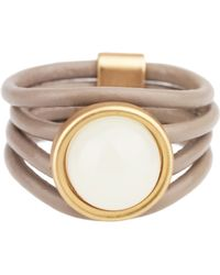 Saachi - Taupe Full Moon Genuine Leather Ring - Lyst