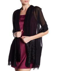 Saachi - Black Embellished Border Wool Wrap - Lyst