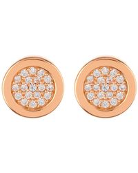 Argento Vivo - 18k Rose Gold Plated Sterling Silver Cz Pave Round Stud Earrings - Lyst