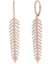 Ron Hami - 14k Rose Gold Diamond Feather Drop Earrings - 0.60 Ctw - Lyst