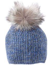 Portolano - Genuine Dyed Fox Fur Pompom Rib Stitched Beanie - Lyst