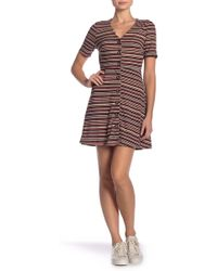 Lush - Striped Ribbed Button Front Dress - Lyst