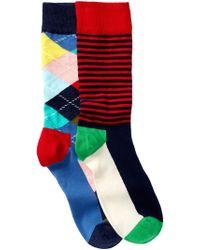 Happy Socks - Assorted Printed Crew Socks - Pack Of 2 - Lyst