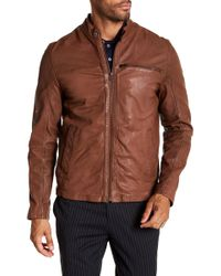 Cole Haan - Goat Leather Zip Front Jacket - Lyst