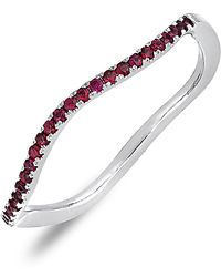 Bony Levy - 18k White Gold Pave Ruby Wavy Stackable Ring - Lyst