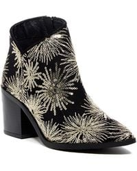 Kenneth Cole Reaction - Cue The Music Sequin Embroidered Block Heel Bootie - Lyst