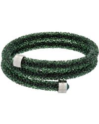 Swarovski - Crystaldust Rolled Crystal Rock Encrusted Double Wrap Bracelet - Lyst