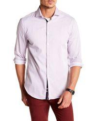 Michelsons Of London - Bright Purple Twill Stripe Print Slim Fit Shirt - Lyst