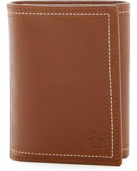 Original Penguin - Glossy Leather Trifold Wallet - Lyst
