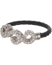 Alor - 18k White Gold & Black Stainless Steel Cable Diamond Filigree Ring - Size 6.5 - 0.15 Ctw - Lyst