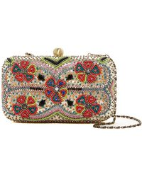 G-Lish - Floral Beaded Hard Case Clutch - Lyst