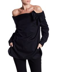 Cece by Cynthia Steffe - Long Sleeve Off-the-shoulder Bow Front Poplin Top - Lyst
