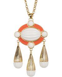 Trina Turk - Beveled Cabochon & Enamel Detail Pendant Necklace - Lyst